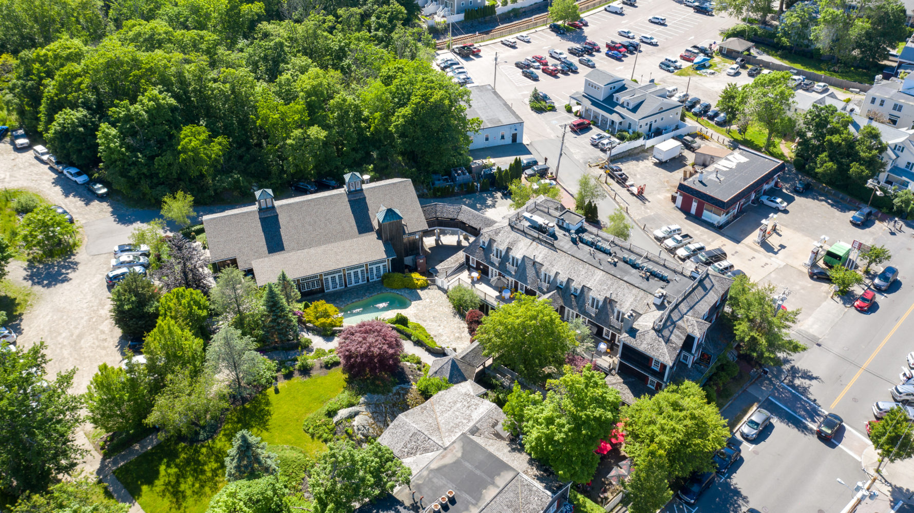 Cohasset Harbor properties from above